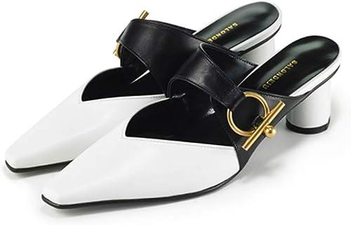 SFSYDDY-La Mode du Métal Boucle Baotou Paresseux Moitié Cool Pantoufles Les Femmes Portent des Talons Haut Talon Rude des Chaussures De Femmes.