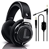 Philips SHP9500 Wired Over-Ear Stereo HiFi Headphones, Comfort Fit Professional Studio Monitor, Open-Back 50mm Drivers (Black) + NeeGo Attachable Microphone for Gaming
