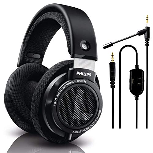 Philips Audio SHP9500 HiFi Wired Over-Ear, Headphones, Comfort Fit, Open-Back 50 mm Neodymium Drivers (Black) + NeeGo Attachable Microphone for Headphones - Gaming and Communication