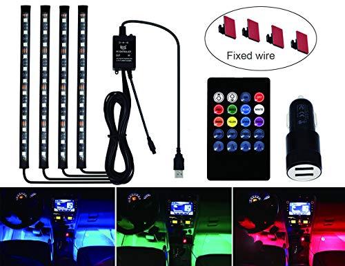 Ranpower 72 LED Innenbeleuchtung Auto RGB Atmosphäre Lichter Strip mit USB-Port Auto Ladegerät IR und Sprachsteuerung
