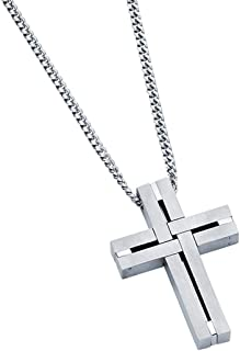 """Boston Bay Diamonds Men's Stainless Steel Interlocking Woven Cross Pendant Necklace with 24"""" Curb Chain"""