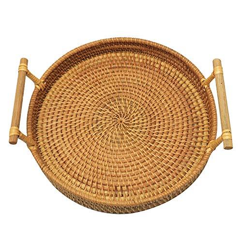 Cesta de mimbre redonda para pan de mimbre tejida a mano, cesta de mimbre para pan, frutas, aperitivos, cesta redonda de almacenamiento