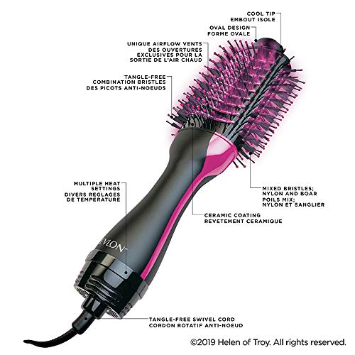 Revlon Salon One- Step Volumizer for mid to long hair (2-in-1 styling tool, dryer and styler, IONIC TECHNOLOGY, Ceramic tourmaline coating), RVDR5222