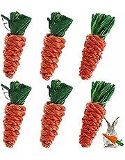 ウサギおもちゃ にんじん 噛むおもちゃ 歯磨き ハムスター チンチラ ハリネズミ デグー 小動物用の臼歯のおもちゃ天然素材 6個入り(10cm×3cm)