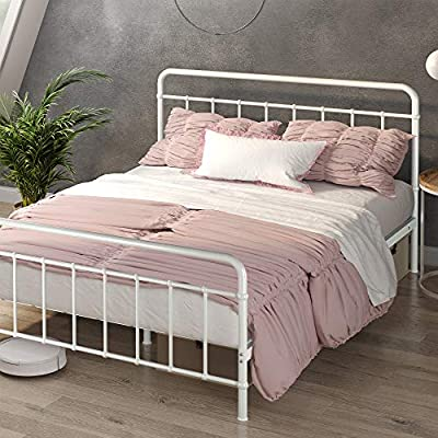"""ZINUS Florence Metal Platform Bed Frame / Mattress Foundation / No Box Spring Needed / Easy Assembly, White, Full - DIMENSIONS: 75"""" X 53"""" X 12"""" 