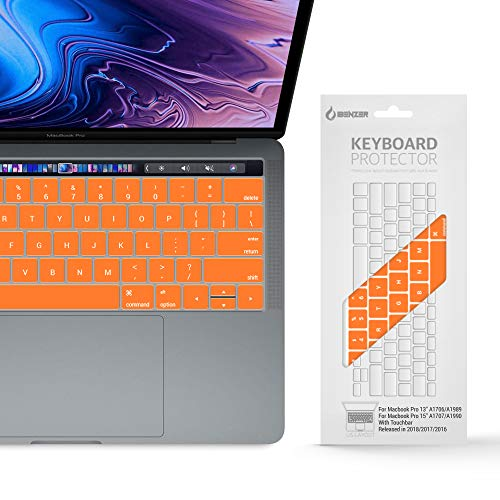 IBENZER Macaron Series Silicone Keyboard Cover for MacBook Pro 13'' or 15'' with Touch Bar (2018 2017 2016 Model: A1706 A1707 A1989 A1990), Orange, MKC05OR