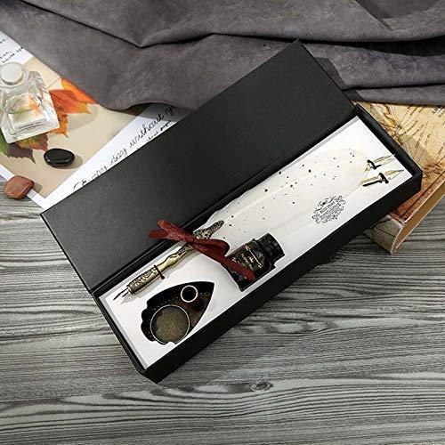 Pluma estilográfica de gama alta Vintage Caligrafía Pluma Dip Pen Set de tinta de escritura Papelería Pluma estilográfica Pluma estilográfica Creative Vintage Pen LCMUS (Color: Wt, Tamaño: Gratis)