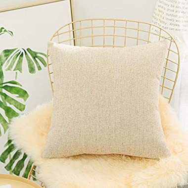 HOME BRILLIANT Euro Throw Pillow Sham Striped Linen Chenille Blend Decorative Cushion Cover for Couch, 26x26 inch(66cm), Tan
