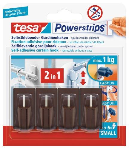 Tesa 58047-00002-00 Powerstrips - Ganchos adhesivos para cortinas Vario (4 ganchos, 6...
