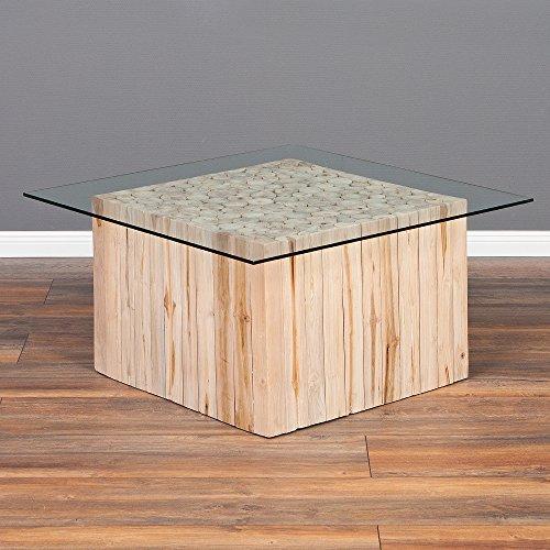 LEBENSwohnART Teakholz Couchtisch Jeff mit Glasplatte ca. 80x80cm Massivholz Wohnzimmertisch