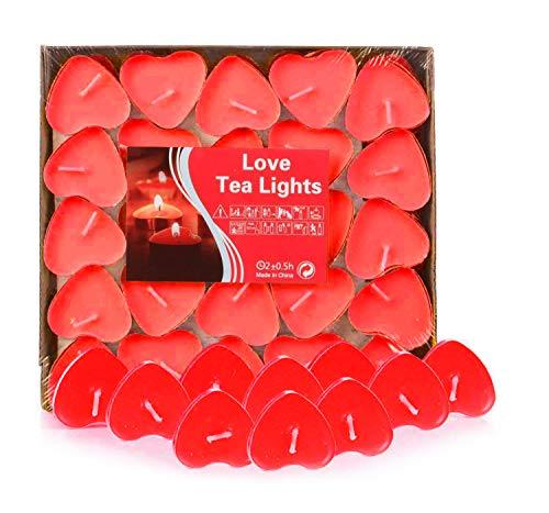 Adkwse 50er Teelichter, Herzform Romantische Kerzen Rauchfreie Herzkerzen für Geburtstag, Vorschlag, Hochzeit, Party, Rot, Hochzeit Verlobung, Valentinstag (Rot)