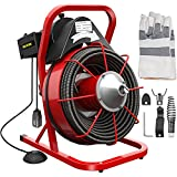 Mophorn 75Ft x 3/8Inch Drain Cleaner Machine,fit 1 Inch/25MM to 4 Inch/100MM Pipes,250W Drain Cleaning Machine,Portable Electric Drain Auger with Cutters Glove Drain Auger Cleaner Sewer Snake