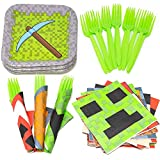 Mining Fun Value Party Supplies Pack (58+ Pieces for 16 Guests), Value Party Kit, Mining Fun Party Plates, Birthday Decorations, Napkins, Forks, Tableware