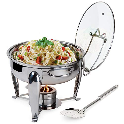 6 Quart Round Stainless Steel Chafing Dish with Bonus Slotted Spoon and Drip Tray for Lid | Keeps linens dry | For wedding, graduation, events, parties | Sterno holder