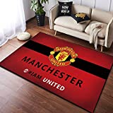 Lupovin FB-17 Área de Equipo de fútbol Europeo Alfombras Fashion Floor Matchet Manchester United F.C Theme Carpet Retro Hackormat Antideslizante Sala de Estar Mat Fans Home Decor Collection