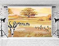 写真撮影のためのHD野生の草原の動物の背景10x7ftソフトコットンゼブラアンテロープ鹿の背景子供ベビーシャワーの誕生日パーティーの装飾用品写真撮影の小道具WQFS107