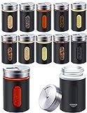 Praknu 12 Gewürzstreuer Schwarz 80ml aus Edelstahl mit Sichtfenster und 3-Fach Streuregulierung -...
