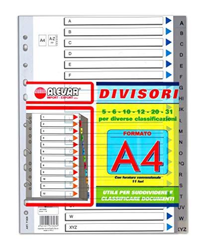 Divisori Grigi A4 11 Fori / 20Fogli A-Z Alfabetici