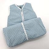 Fashion&Joy Baby Schlafsack aus 100% Baumwolle Sterne in hellblau 70 cm Babyschlafsack Jungen leicht gefüttert atmungsaktiv Ganzjahres-Schlafsack Kleinkind blau Typ373