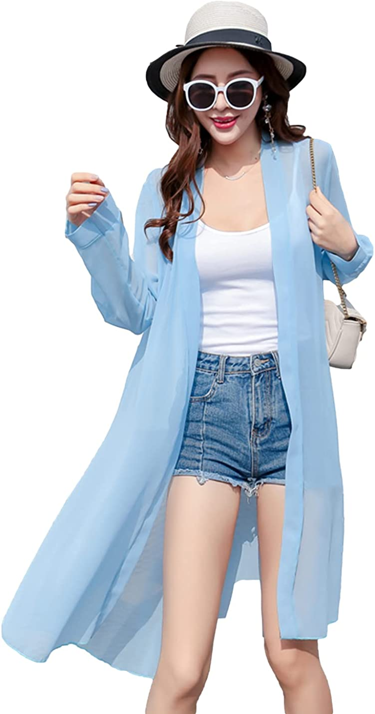 Omoone Womens Long Sleeve Sheer Mesh Mid Long Open Front Cardigan Cover Up Kimono