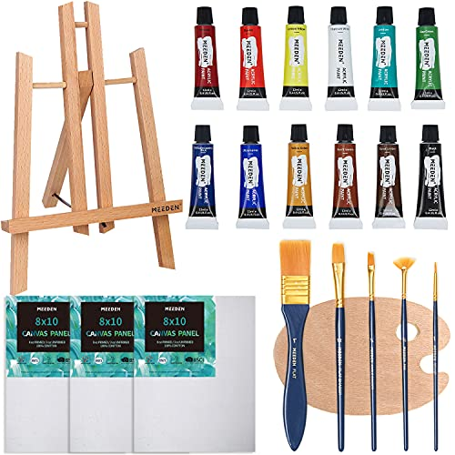 MEEDEN Acrylic Painting Set with 11.8'' Beechwood Tabletop Easel, 12 Colors Acrylic Paints, 3 Canvas Panels, 5 Paint Brushes & Wooden Palette, for Kids & Beginner Artist