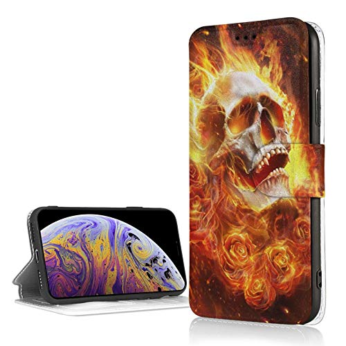 Fire Skull Flaming Rose iPhone Xr Wallet Case with Credit Card Holder Leather Kickstand Card Slot Durable Shockproof Cover for iPhone Xr 6.1'
