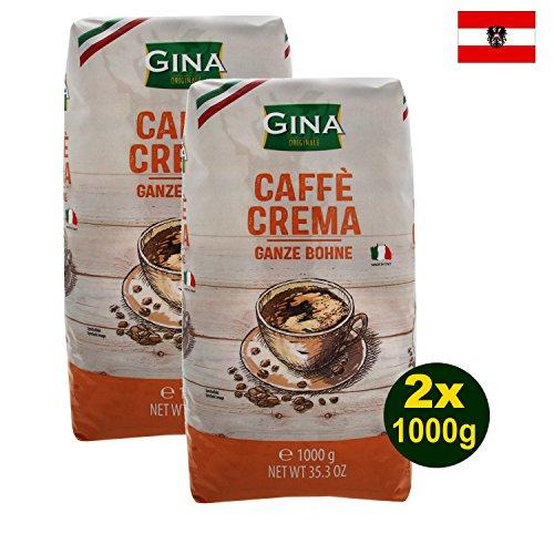 Gina CAFFÈ CREMA ganze Bohnen 2 x 1000g (2000g) - Kaffee mit samtiger Crema