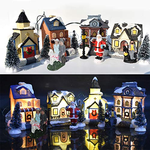 10PCS Christmas Cabin Tiny, Scene Snow Village Colecciones Casas Conjuntos, LED Light Up Building Figuras Luminosas Adornos de Mesa Accesorios,...