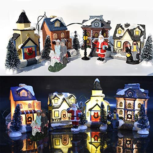 Juego de 10 piezas de Navidad LED brillante de pueblo pequeño casita de cabina, adorno de árbol de Navidad, decoración de Papá Noel, adorno de tronco de resina, escena de pueblo para vacaciones