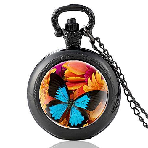XTQDM Pocket watch,Butterflies In Flowers Vintage Quartz Pocket Watch Men Women Glass Dome Charm Pendant Necklace Hours Clock Gifts Black