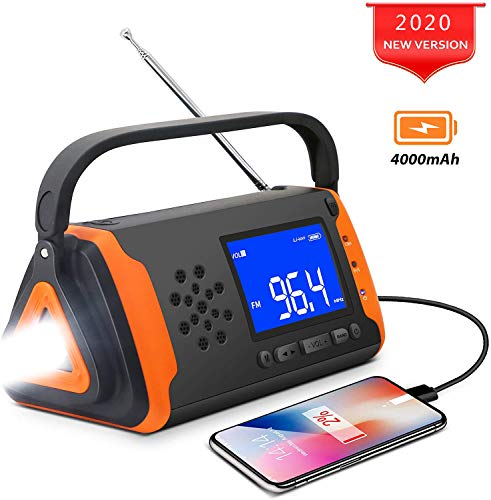 B&H-ERX Tragbares Solarradio, Notfunk-Handkurbel-Telefonladegerät Mit LED-Taschenlampe, 4000-Mah-Powerbank Und SOS-Alarm/Notfall Für Camping, Wandern