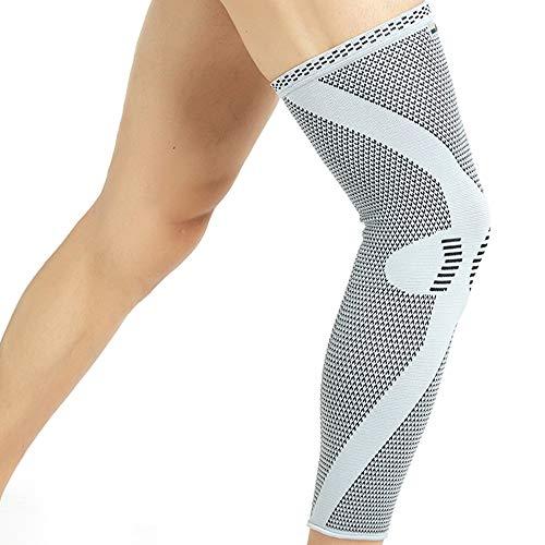 Neotech Care - Manga de compresión para rodilla y pierna (1 Unidad) - Tejido de punto de fibra de bambú - Material elástico y transpirable - Compresión mediana - Gris - XL ✅