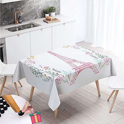 Enhome Impermeable Mantel Mesa Rectangular Tela, Antimanchas Lavable Manteles Square 3D Impresión Manteles para Cocina o Salón Comedor Decoración del Mesa (Rosa Paris Eiffel,140x140cm)