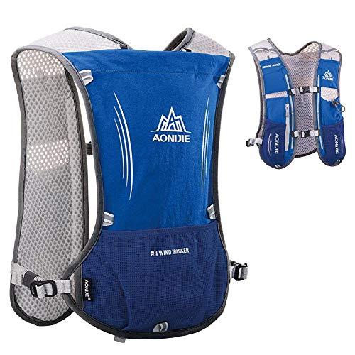 WANGIRL Mochila de Hidratación 5L Running Hydration Bag Chaleco de Hidratación Ligero para Ciclismo Excursión Carrera Senderismo Mujeres Hombres Tamaño: 43 * 28Cm,Azul