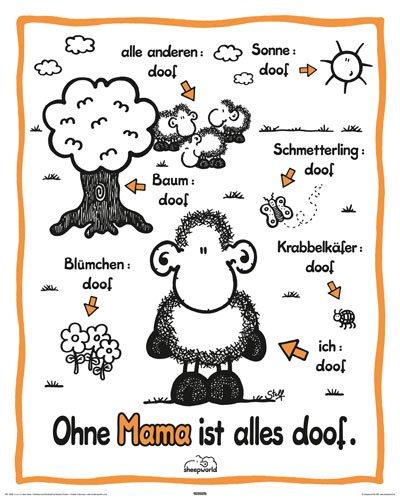 Empire Poster avec Accessoires Motif Sheepworld avec Inscription en Allemand Ohne Mama