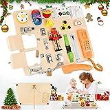 GJCrafts Busy Board Giocattoli Educativi per Bambini per Imparare 20 Abilità di Vita di Base Adatti, Giochi Educativida Pannello Sensoriale 1 a 4 anni Regali per Ragazzi o Ragazze Depression gift