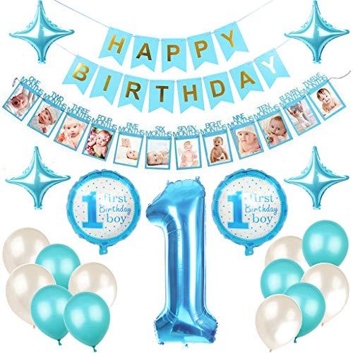 Feelairy 1er Cumpleaños Bebe Globos Decoracion para Niño, 1 Año Cumpleaños Globos Decoración para Fiesta de Primer Cumpleaños, Happy Birthday Pancarta Banderines Azul, 12 Meses Foto Guirnalda