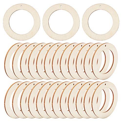 PandaHall 30 anillos de madera redondos planos de 2.36 x 0.14 pulgadas, pendientes de color blanco antiguo para hacer joyas