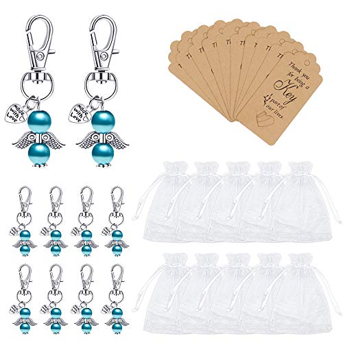 Lucky Memorial Keyring Wedding Party Gift Keychains, 10 Pieces Guardian Angel Pendant Keychains Crafts Supplies with Tags, Small Organza Bags for Christmas, Wedding Favors, Souvenirs, Blue/Pink (Blue)