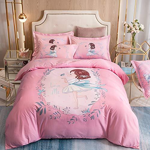 Sommer 100% Baumwolle, 4-teiliges Set, große Pflanzen und Blumen mit Modedrucken, Bettlaken, Kissenbezug, 4-teiliges Set, geeignet für 1,8 mx 2 m großes Bett, Mädchen, 2,0 m (6,6 ft) großes Bett