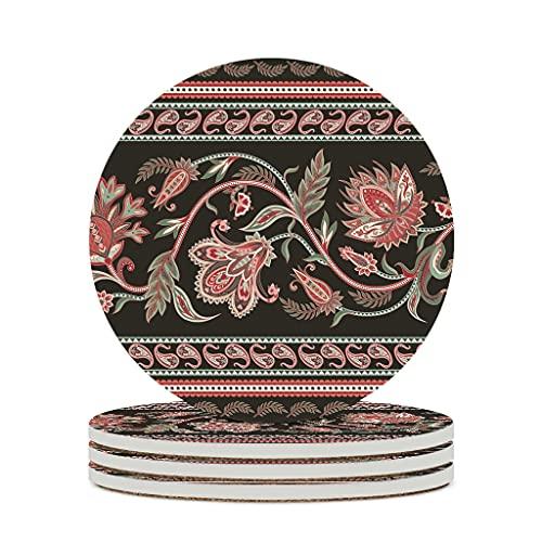 KittyliNO5 Posavasos redondos, diseño de cachemira, flores, cerámica, juego de 4 o 6 posavasos de porcelana con base de corcho, redondo, 10 cm, color blanco, 6 unidades