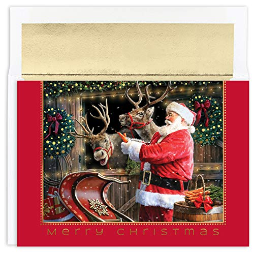 Masterpiece Studios Holiday Collection 18-Count Boxed Christmas Cards with Foil-Lined Envelopes, 7.8' x 5.6', Santa and Reindeer