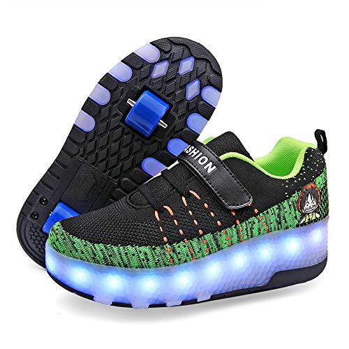 CHXY Zapatos para Caminar Automáticos Fila Individual Polea Invisible Patines Roller Masculino Y Femenino Doble Fila Patinaje sobre Ruedas Patinaje para Niños Adultos,F-39