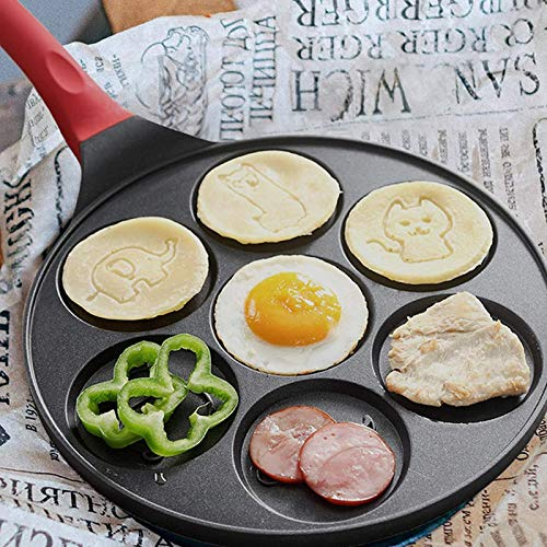 greatdaily Poêle à crêpes à Sept Trous Multifonctionnel à Fond Plat antiadhésif pour boulette d'oeuf Pot Omelette Moule Durable Multifonctionnel rôtissage cuve Outil de Cuisson