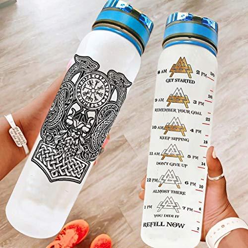 IOVEQG Botella de agua de 32 onzas Vik-ing sin BPA ecológica Tritan Co-Polyester Botella de agua de plástico 1L con tapa a prueba de fugas con un clic abierto para fitness y exterior blanco 1000 ml