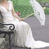 Zhat Parapluie de mariée, Parapluie de Parasol Fait à la Main, Motif de Broderie de Dentelle Florale Accessoires de scène élégants fêtes de célébration pour Photos de Mariage(White)