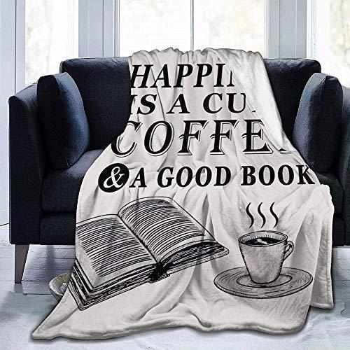 Mantas Bonito Regalo para Amantes De La Lectura La Felicidad Es Una Taza De Café Un Buen Libro Beige Franela Manta Súper Suave Cómoda 80X60 Inch