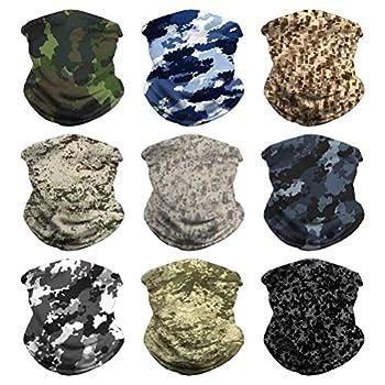 Headband Face Bandana Head Wrap Scarf Neck Warmer Headwear Balaclava for Sports  9PCS CAMO-5