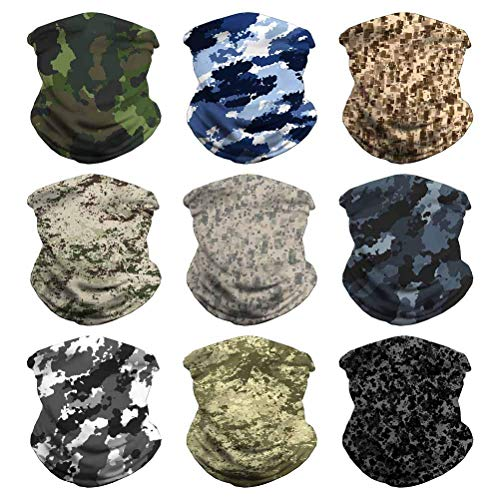 Headband Face Bandana Head Wrap Scarf Neck Warmer Headwear Balaclava for Sports (9PCS CAMO-5)