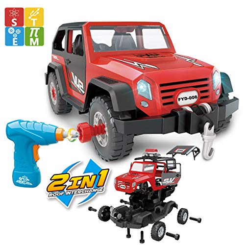 FYD 2in1 Take Apart Jeep Car STEM Learning Assembly Playset with Functional Battery-Powered Drill - Early Childhood Developmental Skills Construction Toy for Boys Kids Aged 3 and up